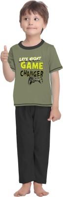 La Dreamz Boy's Solid Dark Green Top & Pyjama Set
