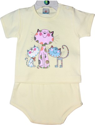 Babiano Baby Girls Animal Print Yellow, Blue Top & Shorts Set