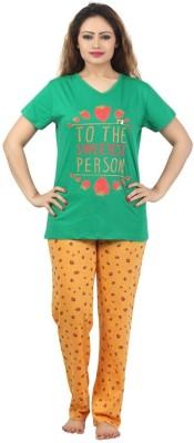 Sunwin Women's Printed Green, Orange Top & Pyjama Set