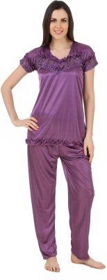 CrazyLiner Women's Solid Purple Top & Pyjama Set