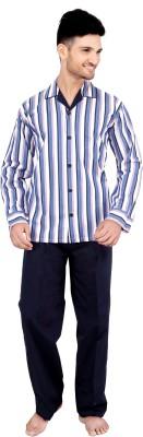 Tatwam Woven Men's Striped Multicolor Top & Pyjama Set