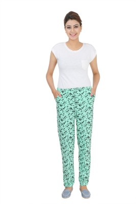 Broche Women's Printed Green Top & Pyjama Set