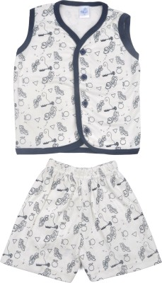 Kandy Floss Baby Boy's Self Design Dark Blue Top & Shorts Set