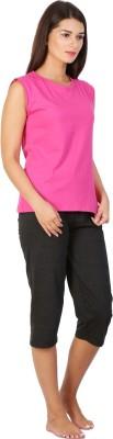 Click Hit Softle Top Payjama set Women's Solid Pink, Black T-shirt & Three-forth Set