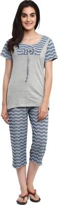 Softwear Women's Self Design Grey Top & Capri Set