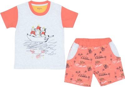 PRANAVA Boy's Printed Orange Top & Shorts Set