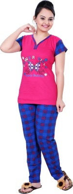 MAHAARANI Women's Printed Pink Top & Pyjama Set