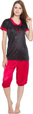Kismat Fashion Women's Solid Red, Black Top & Capri Set