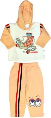 Babiano Boy's Printed White, Orange Top & Pyjama Set