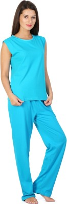 Click Hit Softle Top Payjama set Women's Solid Light Blue, Light Blue Top & Pyjama Set