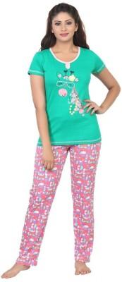 Sunwin Women's Printed Green, Blue Top & Pyjama Set