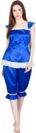 Patrorna Women's Solid Blue Top & Capri Set