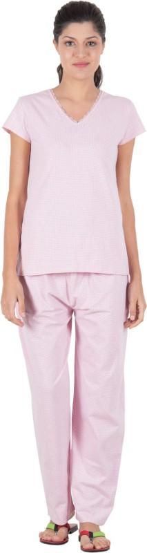 Serenity Women's Polka Print Pink, Purple Top & Pyjama Set