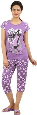 New Darling Women's Printed Purple Top & Capri Set