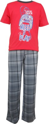 Sweet Dreams Boys Solid Red Top & Pyjama Set