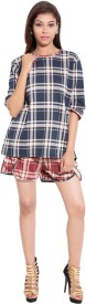 9teenAGAIN Women's Checkered Blue, Red Top & Shorts Set