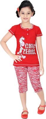 Red RinG Girl's Printed Red Top & Capri Set