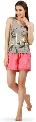The Boxer Store Women's Printed Grey, Pink Top & Shorts Set