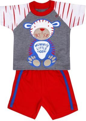 Munna Munni Kids Apparel Baby Boy's Printed, Solid Blue, Grey, Red Top & Shorts Set