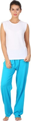 Click Hit Softle Top Payjama set Women's Solid White, Light Blue Top & Pyjama Set