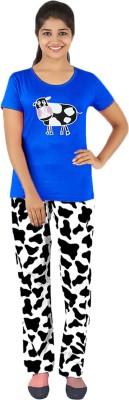 Gallop Women's Printed Blue Top & Pyjama Set