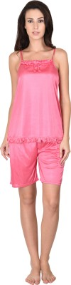 Go Glam Women's Solid Pink Top & Shorts Set
