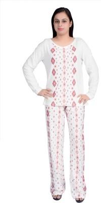 Parv Collections Women's Printed White Top & Pyjama Set