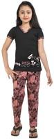 Red Ring Kids Nightwear Girls Self Design Cotton