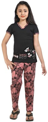 Red Ring Girls Self Design Black Top & Pyjama Set