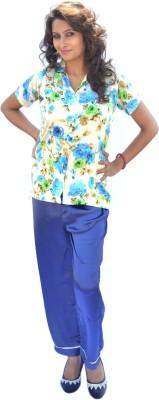 Miss-Me Women's Printed Blue Top & Pyjama Set
