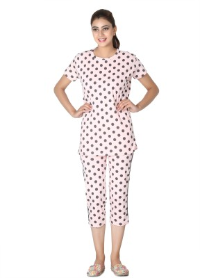 Broche Women's Polka Print Pink Top & Capri Set
