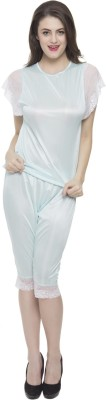 Clovia Pajama Set In Babyblue Satin With White Lace Women's Solid Blue Top & Capri Set