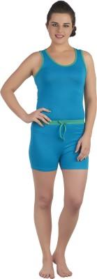 SOIE Women's Solid Blue, Green Top & Shorts Set