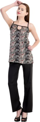 Claura Women's Polka Print Black Top & Pyjama Set