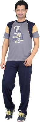 Premium Plus Men's Solid Light Blue, Dark Blue Top & Pyjama Set