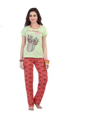 Sunwin Women's Floral Print Light Green Top & Pyjama Set