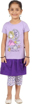SPN Garments Girl,s Graphic Print Purple Top & Capri Set