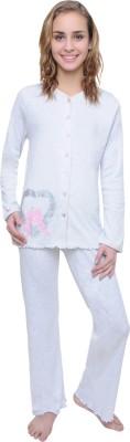 Wemei Women's Solid Grey Top & Pyjama Set