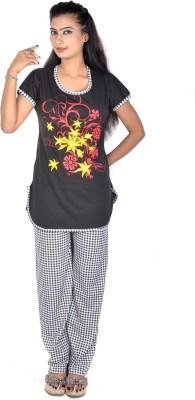 Rosabela Women's Printed Black Top & Pyjama Set