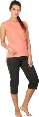 Click Hit Softle Top Payjama set Women's Solid Orange, Black T-shirt & Three-forth Set
