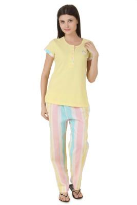 Fragrance Women's Solid Yellow Top & Pyjama Set