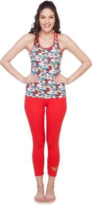 SOIE Women's Printed Red Top & Pyjama Set