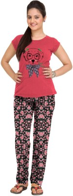 So Sweety Womens Printed Pink Top & Pyja...