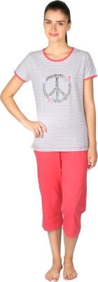 Lazy Dazy Women's Striped Grey, Orange Top & Pyjama Set