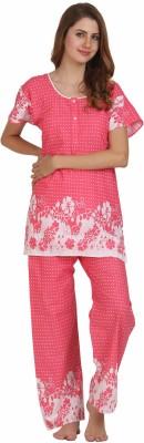 Miavii Women's Printed Pink Top & Pyjama Set