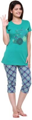Meei Women's Printed Green Top & Capri Set
