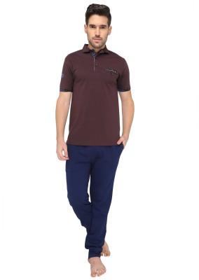 Valentine Men's Solid Purple Top & Pyjama Set