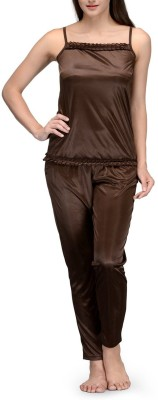 Meow Women's Solid Brown Top & Pyjama Set