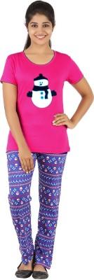 Gallop Women's Animal Print Pink Top & Pyjama Set