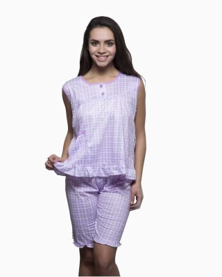 Kunchals Women's Self Design Purple Top & Capri Set